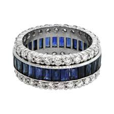 sapphires wedding rings images Sapphire and diamond wedding band estate diamond jewelry jpg