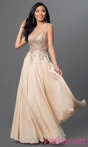 image of long sleeveless jewel embellished lace applique sheer