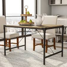 wood and iron dining room table laurel foundry modern farmhouse madeline angle iron and wood dining