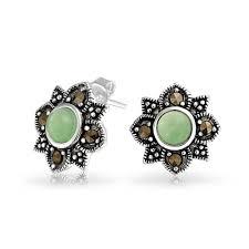 flower stud earrings marcasite flower stud earrings vintage 925 silver