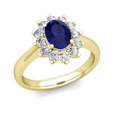 ring diana brilliant diamond and blue sapphire diana ring in 18k gold 8x6mm