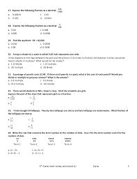 6th grade math review worksheet 1