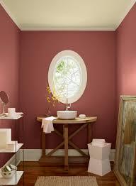 red bathroom ideas romantic rose tinted powder room paint