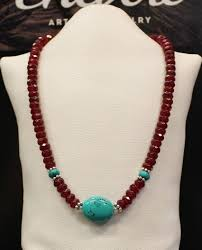 beaded jade necklace images Turquoise and deep red jade necklace chevere jr jpg