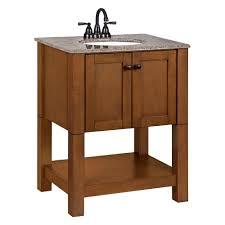 Bathroom Vanity Ls Palisades 27 In W Bath Vanity In Bourbon Cherry With Granite