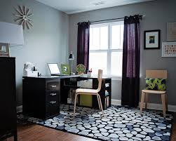 Curtains For Grey Walls Transitional Home Office Purple Curtains White Windows Wooden