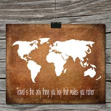 Instant Download World Map Travel Quote Poster Travel is the