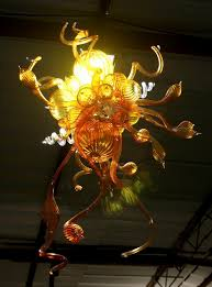 Art Chandelier Amber And Clear Glass 100 Hand Blown Art Decoration Chandelier
