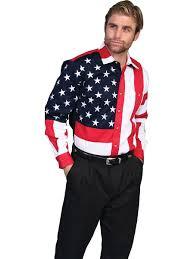 Flag Suit Mens Red White U0026 Blue Flag Pattern Shirt Western Wear Frontier