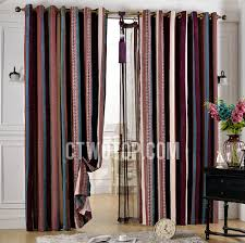 Coloured Curtains Chenille Blackout Bedroom Striped Plum Coloured Curtains
