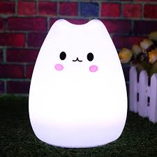usb cat night light 3 style led colorful silicone animal usb rechargeable power cat