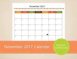 printable november 2017 calendar seasonal monthly calendar