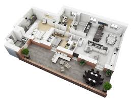 Simple 2 Bedroom House Plans by 25 More 3 Bedroom 3d Floor Plans