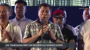 Great Thanksgiving Speeches Rodrigo Duterte U0027s Speech At His Thanksgiving Party Youtube