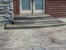 Textured Concrete Patio by Stamped Concrete Patio With Steps Random Stone Pattern
