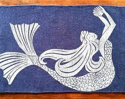 bath rug bath mat mermaid pink hair u0026 seashell cotton
