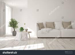 minimalist home interior design idea white minimalist room sofa scandinavian stock illustration