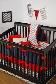 red grey chevron and navy crib bedding in the nursery chevron