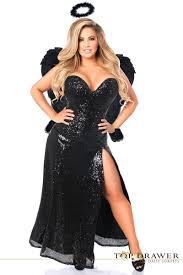 halloween angel costumes plus size dark angel black sequin corset costume