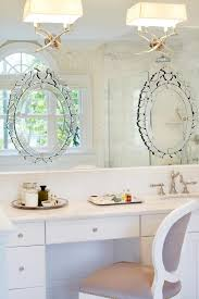 Mirror On Mirror Bathroom Luxurious Oval Large Vanity Mirror With Lights With White Cabinet