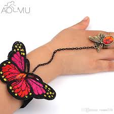 butterfly link bracelet images Whole saleaomu butterfly slave link chain rings crystal wrist hand jpg