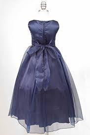 navy blue ribbon rosebuds ribbon big flower organza dress wedding prom