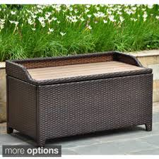 Outside Storage Bench Wicker Patio Storage Deck Box 13963715 Overstock Shopping