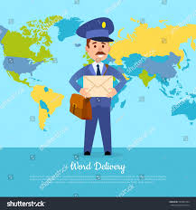 First Class Mail Time Map World Delivery Banner Postman Mailman Suit Stock Vector 583687444