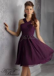 purple dresses for weddings knee length a line halter empire ruched knee length chiffon eggplant