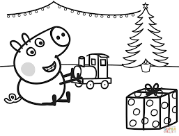 george plays with xmas train coloring page free printable