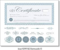print of vector blue certificate border and ornaments