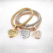 gold bracelet with heart charms images Heart charm bracelets with austrian crystals pandoras box inc jpg