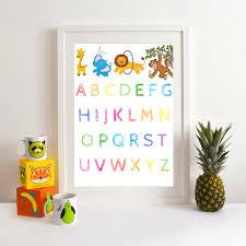 alphabet nursery wall art abc print framed unframed download