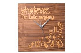 modern wooden walnut funny office wall clock www echosusa com