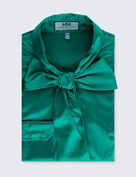 emerald women u0027s emerald green fitted satin blouse bow hawes and