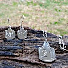customized earrings cattle brand cow tag earrings and necklace set bluegrass