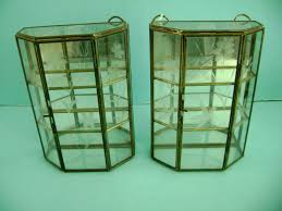 Curio Cabinets Pair Antique Vintage Etched Glass Display Curio Cabinet Pair For