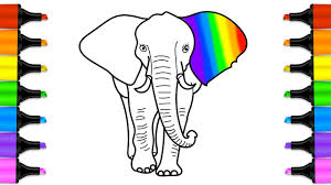 how to draw a colored elephant wild animals color pages for