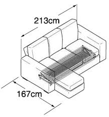 Ato  Seat Chaise Sofa Bed Chaise Sofabed Nabru - Double sofa bed dimensions