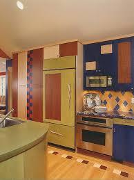 Small Colourful Kitchen Decoration Using Orange Blue Tile Kitchen