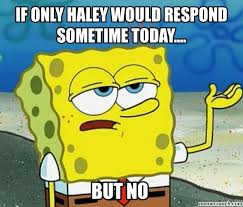 Haley Meme - only haley would respond sometime today