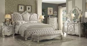 White Furniture Bedroom Sets Acme Versailles 4 Piece Upholstered Bedroom Set In Ivory Velvet