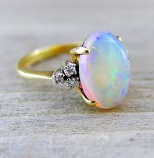 vintage opal engagement rings vintage 3 12 carat opal and diamond engagement by baffy21 on etsy