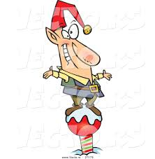 cartoon vector of a happy christmas elf standing on the north pole