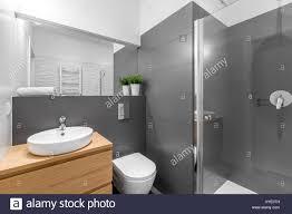 modern grey bathroom with shower wooden cabinet round white