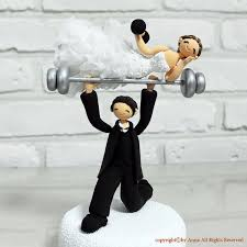 weight lifting cake topper comic and weight lifting theme custom wedding cake topper