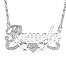 sterling silver nameplate necklace sterling silver name necklace with heart