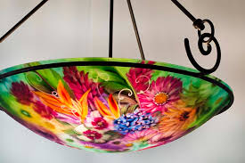 Tropical Chandelier Lighting Enchanted Tropical Garden Reverse Painted Chandelier Is By Artist