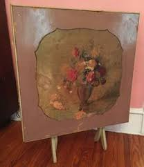 Wooden Folding Card Table Vintage Flower Top Card Table Antique Poppy Flower Floral
