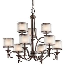 kichler lighting com lacey collection 9 light 2 tier chandelier in mission bronze